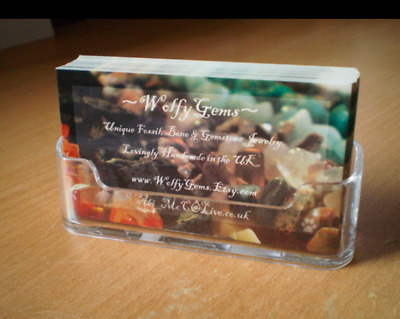 £3.99 • Buy 1 X Clear Desktop Business Card Counter Stand Holder Name Display For Office