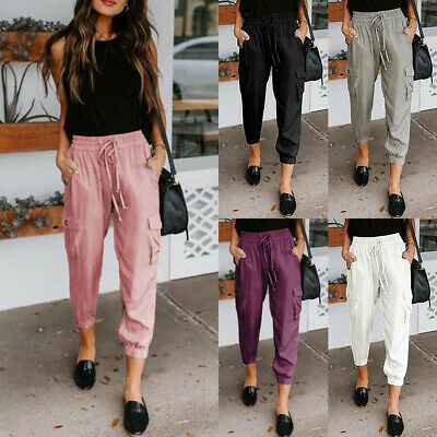 Womens Straight Pure Pockets Cropped Yoga Lace Up Pants Ladies Holiday Trousers • 13.99£