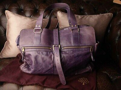 £450 • Buy Genuine Mulberry Midnight Purple Maxi Mabel Travel Bag With Dust Bag, Rare!