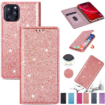 AU15.88 • Buy For IPhone 11 12Pro Max XR 7 8+ Glitter Magnetic Leather Wallet Flip Case Cover