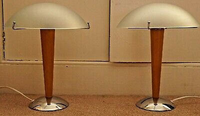 Pair Vintage Ikea Kvintol Art Deco Style Frosted Glass Wood Chrome Table Lamps • 149.99£