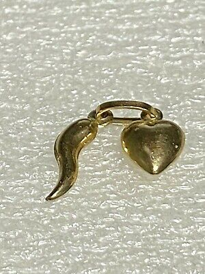 9 Ct Gold   New Gold Twin Pendant  Heart With Horn Of Plenty #1922 • 32£