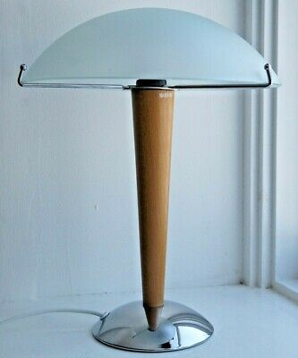 Vintage Ikea Kvintol Art Deco Style Frosted Glass Wood Chrome Table Lamp • 59.99£