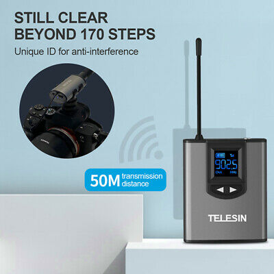 TELESIN UHF Wireless Microphone Lavalier Headset Mic With Receiver Transmitter • 36.41£