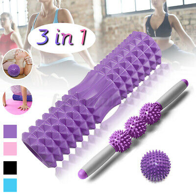 AU30.96 • Buy 3 IN 1 Foam Roller Set Muscle Massage Stick Spiky Ball Yoga Column Relax