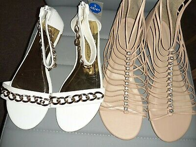 2 Pairs Of Ladies Shoes Sandals Newlook  And Primark Size 7 NEW • 1.20£