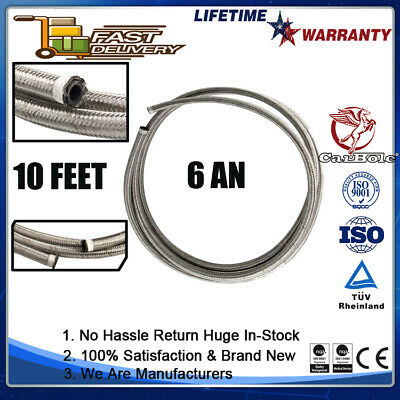 AU27.99 • Buy AN -6 6AN 8MM Stainless Steel Braided Fuel Oil Gas Line Hose 10 Feet 3 Meters