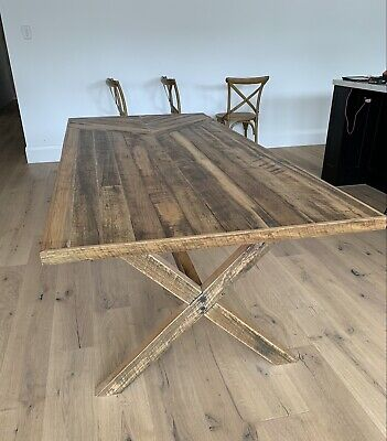 AU700 • Buy Beautiful Hard Wood Timber DINING Table Cross Legs 8 Seater Hand Made