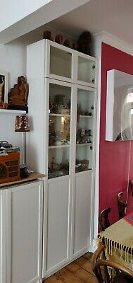 IKEA Billy Bookcase White Glass Doors, Shelves And Height Extension Unit • 10£
