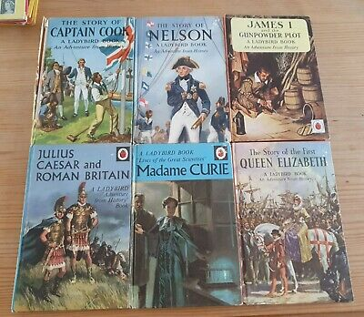 Lot Of 6 Vintage Ladybird Books Adventure From History Series And Madame Curie • 4.75£