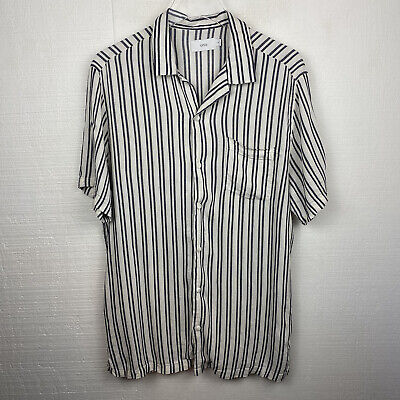 Onia Vacation Shirt L Womens Striped Button Front Short Sleeves White Gray • 24.32£
