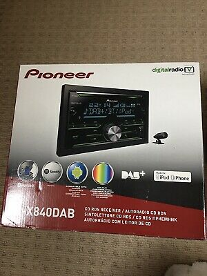 Pioneer FH X840 Dab Bluetooth Double Din Tuner Dab Cd Mo3 Usb Aux Ipod Aerial In • 95£