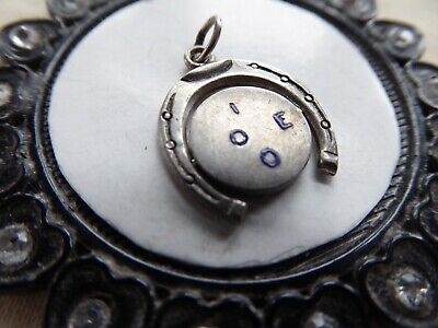 Vtg Sterling Spinner Charm Horseshoe Framed Disk Enamel Letters I LOVE YOU • 9.29£