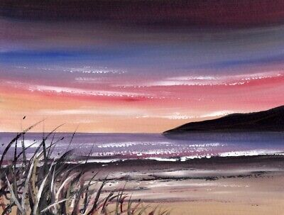 WATERCOLOUR PAINTING SEASCAPE, Sunset Sky, Sea, Sky, Dusk, Sarah Featherstone • 12£