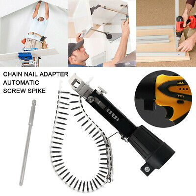 1x Automatic Chain Nail Gun Adapter Screw Spike Electric Drill Woodworking Tool • 18.29£