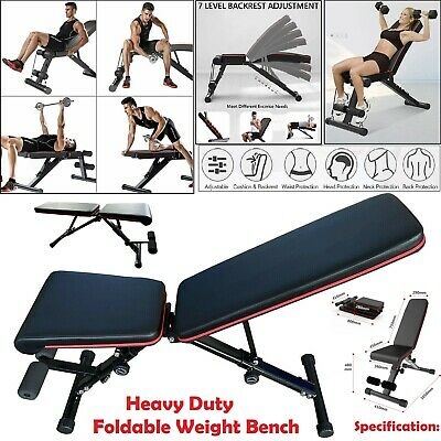 Weight Bench Home Gym Workout Adjustable Foldable Barbell Lifting Fitness Black • 51£