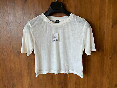 AU18.36 • Buy RRP £19 - URBAN OUTFITTERS T-Shirt Top Cream Crop Cropped L / UK 12-14 - BNWT