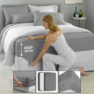 £7.99 • Buy Extra Deep 40cm Grey Fitted Sheet Bed Sheets For Bedroom Single Double King Size