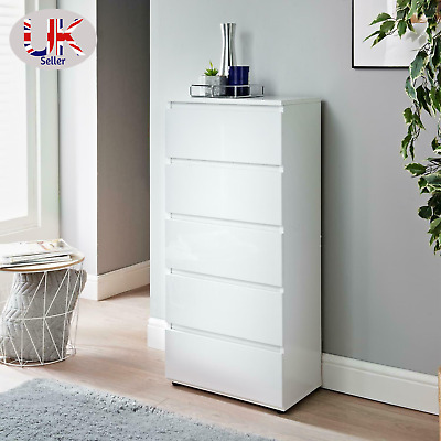 £70 • Buy High Gloss White 5 Chest Of Drawer Tall Cabinet Handle Less Bedroom Furniture