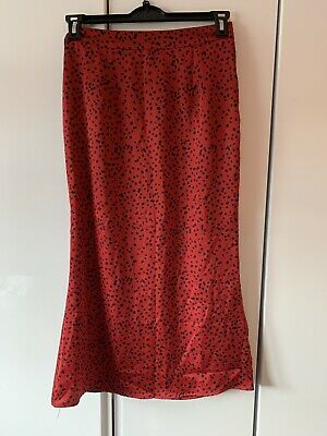 Missguided Maxi Red Polka Dot Skirt - UK Size 10 • 2.99£