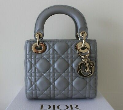 Lady Dior Mini Bag Opaline Grey Leather New Unused And 100% Authentic • 2,350£