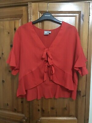 ASOS Red Tie Front Top Size 10 • 5£
