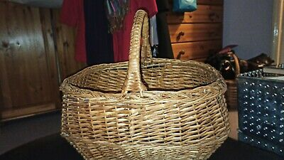£19.99 • Buy Vintage French Wicker Shopping Basket Display Flowers Easter Egg Hunt Good Cond
