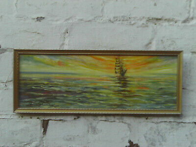 Vintage 1958 Impressionist Style Oil Painting Of Sail Ship Or Galleon At Sea • 18£