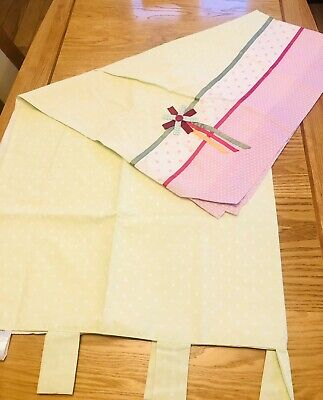 Next Emily Ruffles Curtains Tab Top 135 X 137 Green Pink White Child's Curtains • 3.50£
