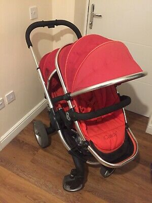 ICandy Peach Tomato Pushchairs Red Double Seat Stroller With Car Seat • 250£