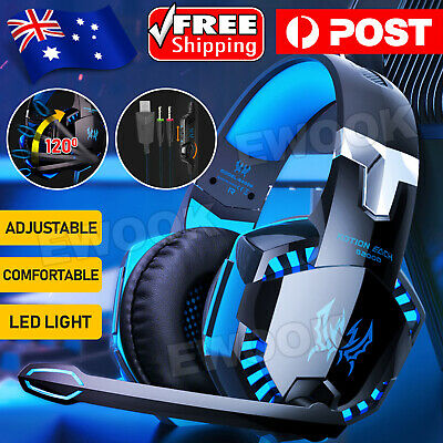 AU27.95 • Buy 3.5mm Gaming Headset MIC LED Headphones Surround For PC Mac Laptop PS4 Xbox One