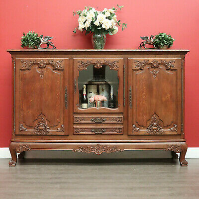 AU1850 • Buy Antique French Sideboard, Buffet Linen Press Cabinet Hall Cupboard Large Storage