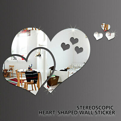 3D Mirror Tiles Love Heart Wall Stickers DIY Self Adhesive Room Home Art Decal • 2.99£