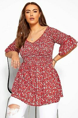 CURVE LADIES RED DITSY FLORAL SHIRRED BARDOT TOP SIZE 24 NEW (ref 263) • 17.95£