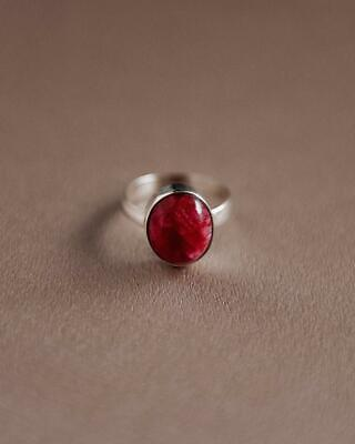 £10.99 • Buy Ruby Ring 925 Sterling Silver Wide Band & Handmade Meditation Jewelry Ring G-214