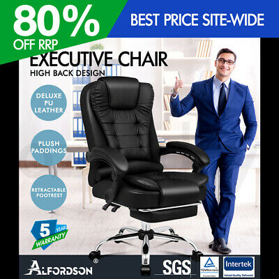 AU179.95 • Buy ALFORDSON Office Chair Gaming Executive Computer Racer Footrest PU Leather Seat