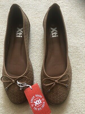 £9.99 • Buy New With Tags Xti The Red Touch Tan Perforated Ballet Pumps Size Uk 8