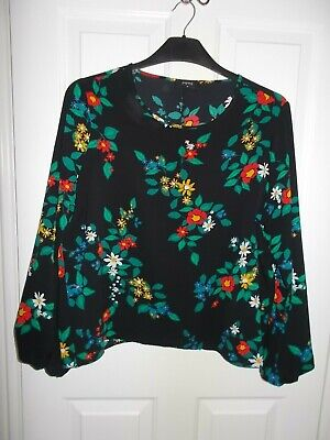 Matalan Ladies Black Floral Top (size 16). Worn Once. • 5.99£