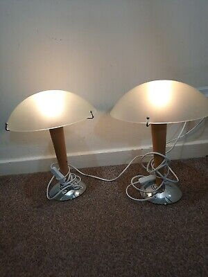 Pair Vintage Ikea Kvintol Art Deco Style Frosted Glass Wood Chrome Table Lamps • 89.99£