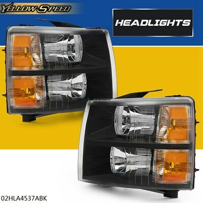 $89.51 • Buy Black Amber Replacement Headlights Lamps For 07-13 Chevy Silverado 1500 2500HD