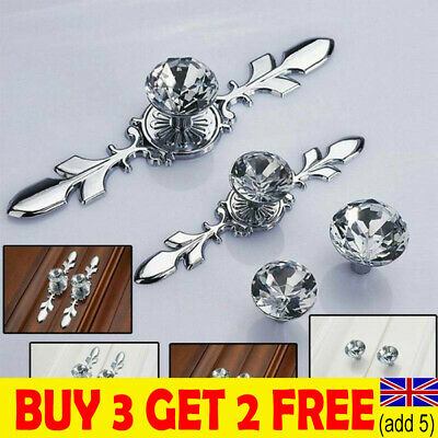 Crystal Diamond Glass Pull Handle Door Knobs Drawer Cupboard Cabinet Handle DDUK • 3.35£