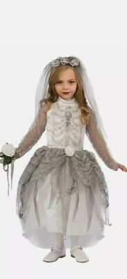 Girls Kids Dead Halloween Fancy Dress Skeleton Zombie Bride Costume 134-146cm  • 8.99£
