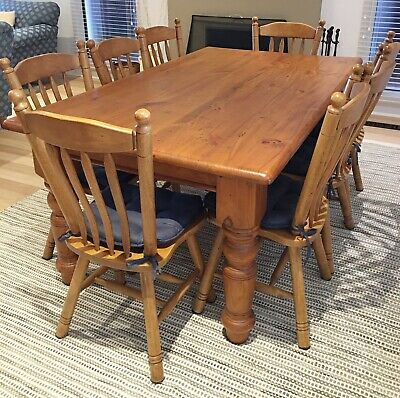 AU282 • Buy Solid Timber 8 Seat Dining Table And Matching Chairs