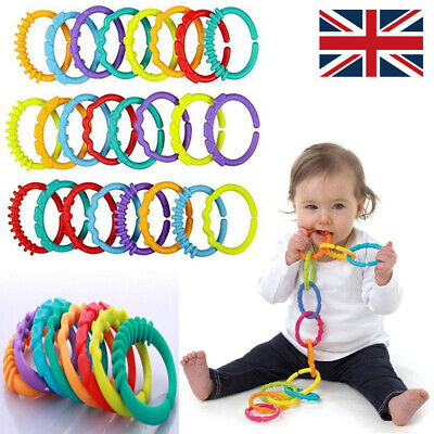 £4.79 • Buy 24Pcs Rainbow Teether Ring Links Plastic Baby Kids Infant Stroller Play Mat Toys