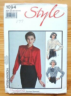 Vintage Sewing Pattern, Style 1094, Ladies' Blouse, Shirt, Size 16 • 3£