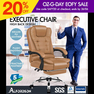 AU149.95 • Buy ALFORDSON Office Chair Gaming Executive Computer Racer Footrest PU Leather Seat
