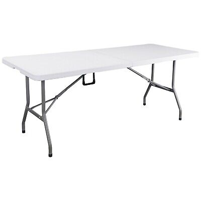 Lifetime 6ft Hard Moulded Plastic Portable Folding Table White With Carry Handle • 79.99£