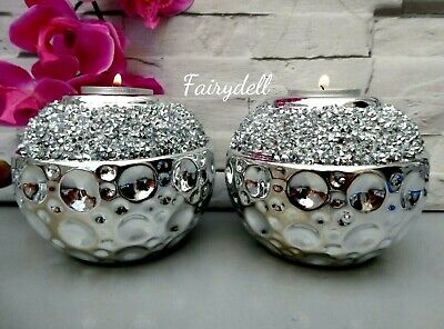 £13.95 • Buy Sparkling Tealight Candle Holders Sphere Silver Anniversay Bling  Ball Decor