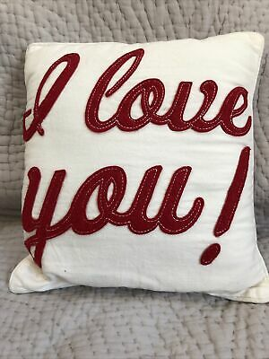Beautiful White Square Cushion - I Love You - In Red Fabric Approx: 28 X 28cm • 1.99£