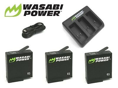 AU23.50 • Buy Wasabi Power Battery Kit & USB Charger For GoPro HERO 3 3+ 4 5 6 & 7 Go Pro Set